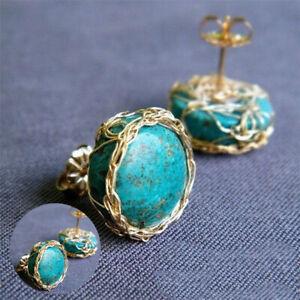 Women-Ear-Stud-Earrings-Wedding-Engagement-Jewelry-18K-Gold-Plated-Turquoise