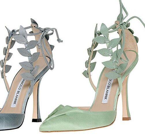 1025 New Manolo Blahnik Boltase Green Crepe Satin Leaf Strappy shoes 38.5 39.5