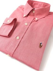 Ralph-Lauren-Men-039-s-Shirt-Tropic-Pink-Chambray-Oxford-Standard-Fit-Long-Sleeve