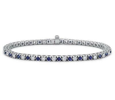 chain link bracelet settings Blue sapphire bracelet in 14K white gold-filled