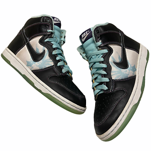 Size-6-5-2007-Nike-Dunk-High-Santana-Black-Glacier-Ice-Blue-VTG-SB-312786-003