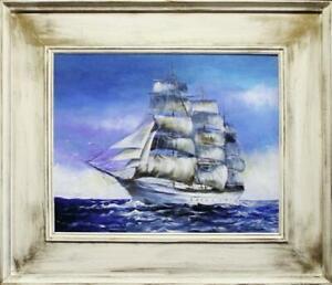 Painting-Oil-Picture-Frame-Schiffsfahrt-Ships-G15477