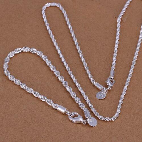 Belle Fashion 925 sterlign Plaqué Argent Bracelet Collier Set Bijoux s51