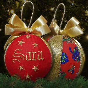 Pallina-Natale-decorazione-natalizia-ricamo-nome-personalizzabile-rosso-dorato