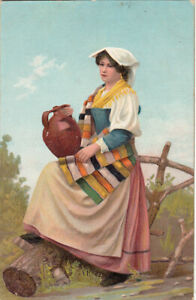 Stengel-ethnic-art-folk-costume-italian-type-lady-amp-pot-chromo-early-postcard