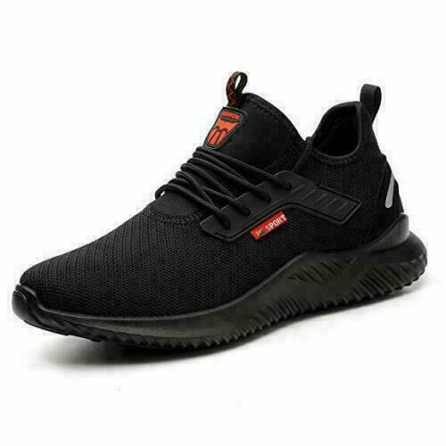 Men Women Lightweight Safety Shoes Steel Toe Black Work Trainers Sport Shoes K1