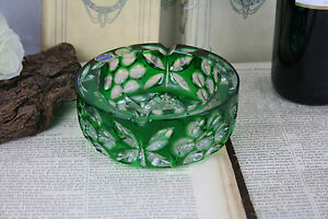 Luxury-CRYSTAL-ashtray-Bohemia-bohemian-marked-czech-green-coloured-rare-model