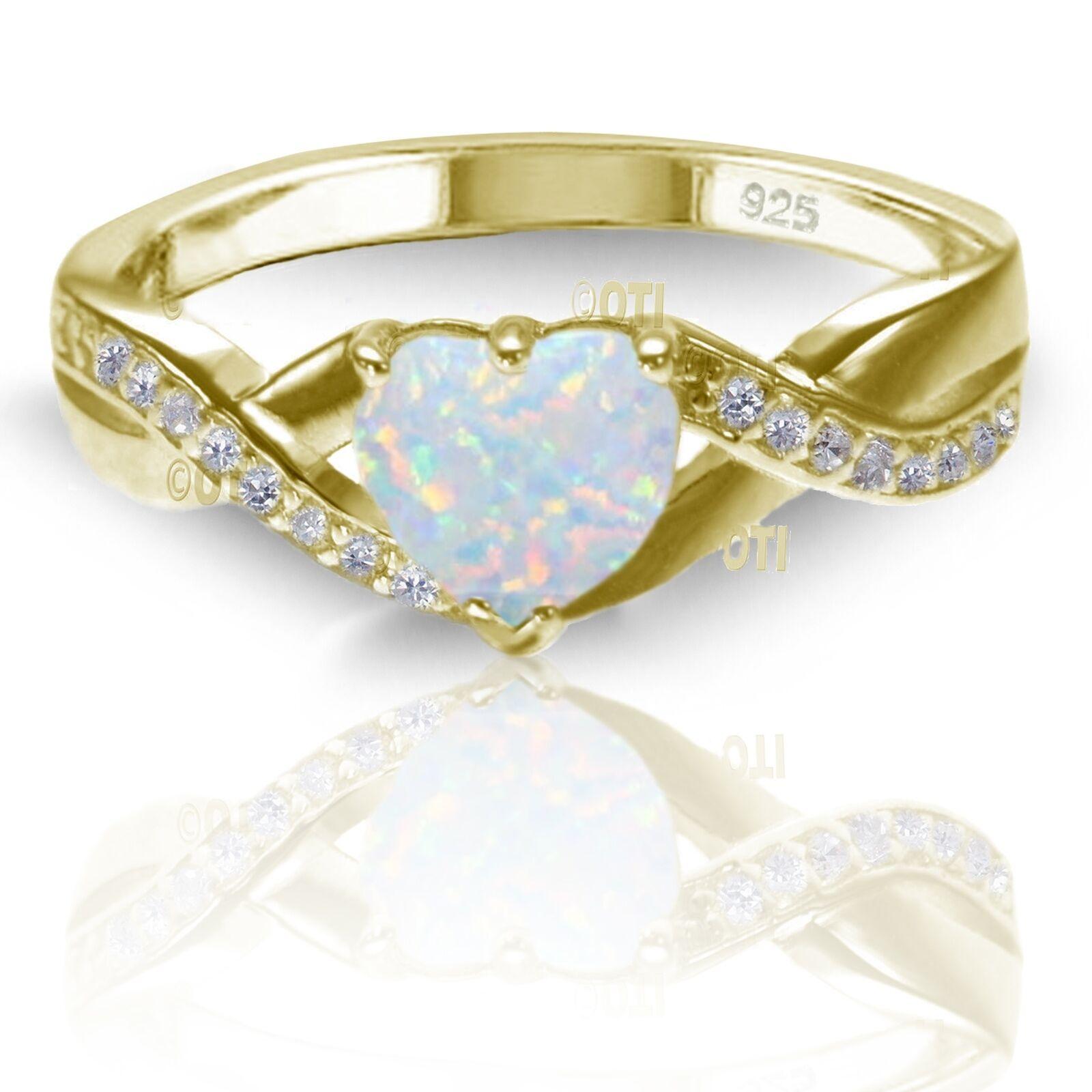 18k Placcato oro Giallo Giallo Giallo Bianco Fuoco & Snow Opale Taglio a Cuore Infinity Anello b6b9e3