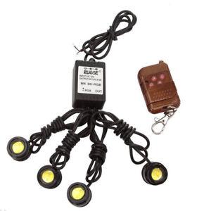 Car-Emergency-Hawkeye-White-LED-Strobe-Grille-Lights-Wireless-Remote-Control-Kit