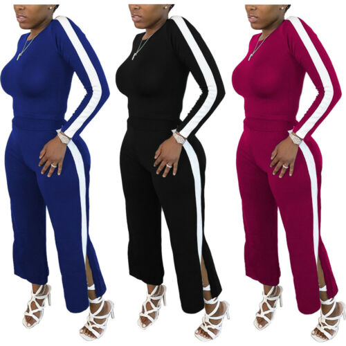 New Fashion Women O Neck Long Sleeves Side Slit Patchwork Casual Outfits 2pcs