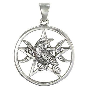 Sterling silver raven pentagram wiccan pentacle pendant triple moon image is loading sterling silver raven pentagram wiccan pentacle pendant triple aloadofball Images