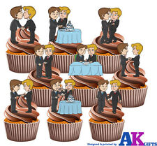 Gay Wedding Party Pack Mix 36 Edible Stand Up Cup Cake Toppers Decorations