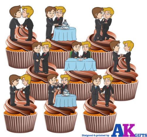 Gay Mariage Pack Mix 36 Comestible Stand Up Cup glaçages pour gâteau décorations