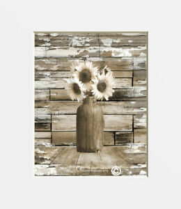 Rustic Farmhouse Decor Sunflower Country Kitchen Home Matted Picture Ebay