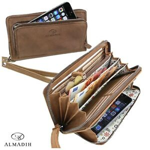 03d05ca1724bb Das Bild wird geladen ALMADIH-Leder-Damen-Portemonnaie -Geldboerse-Brieftasche-Handyfach-braun-