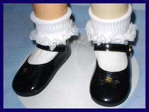Debs BLACK Patent Mini Heart Cut-Out Mary Jane Doll Shoes For Chatty Cathy