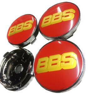 4x-60mm-BBS-Rot-Gold-Nabendeckel-Felgendeckel-Nabenkappe-Nabendeckung-Alufelgen