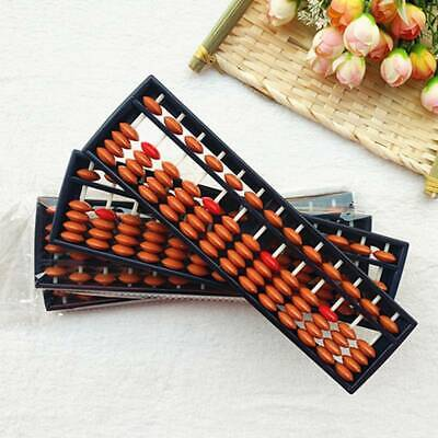 Vintage Red Beaded 13 Digits Plastic Chinese Abacus Ancient Kids Calculator CB