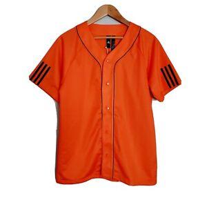 Adidas Mesh Baseball Jersey Button Down Orange Shirt Size S   eBay