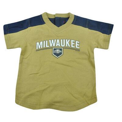 Verlegen Mlb Milwaukee Brewers Kleinkinder Baby T-shirt Baseball Shirt Khaki Jungen Exquisite Handwerkskunst; Unsicher Gehemmt Befangen Selbstbewusst