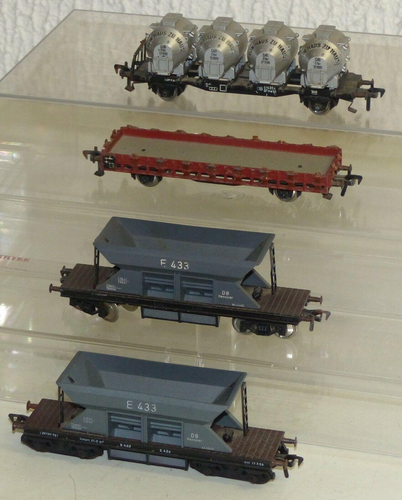 4x Fleischmann Güterwagen  Schotterwagen E 433, Behältertragwagen BTms55.. H0