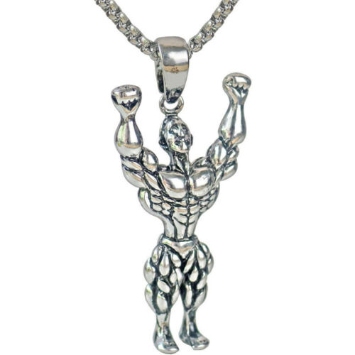 Silver/&Gold Tone Muscle Man Weights Alloy Pendant Necklace Men Fitness Gift