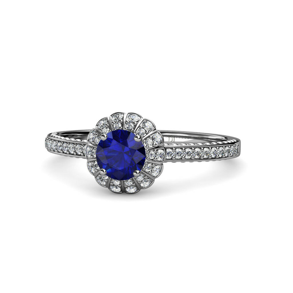 bluee Sapphire and Diamond Halo Engagement Ring 0.95 ctw 14K White gold JP 113041