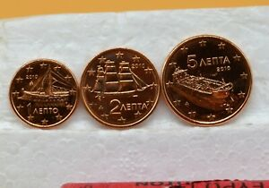 GRECE 2010 : 1 série de 3 pièces 1,2 et 5 cent de rouleaux