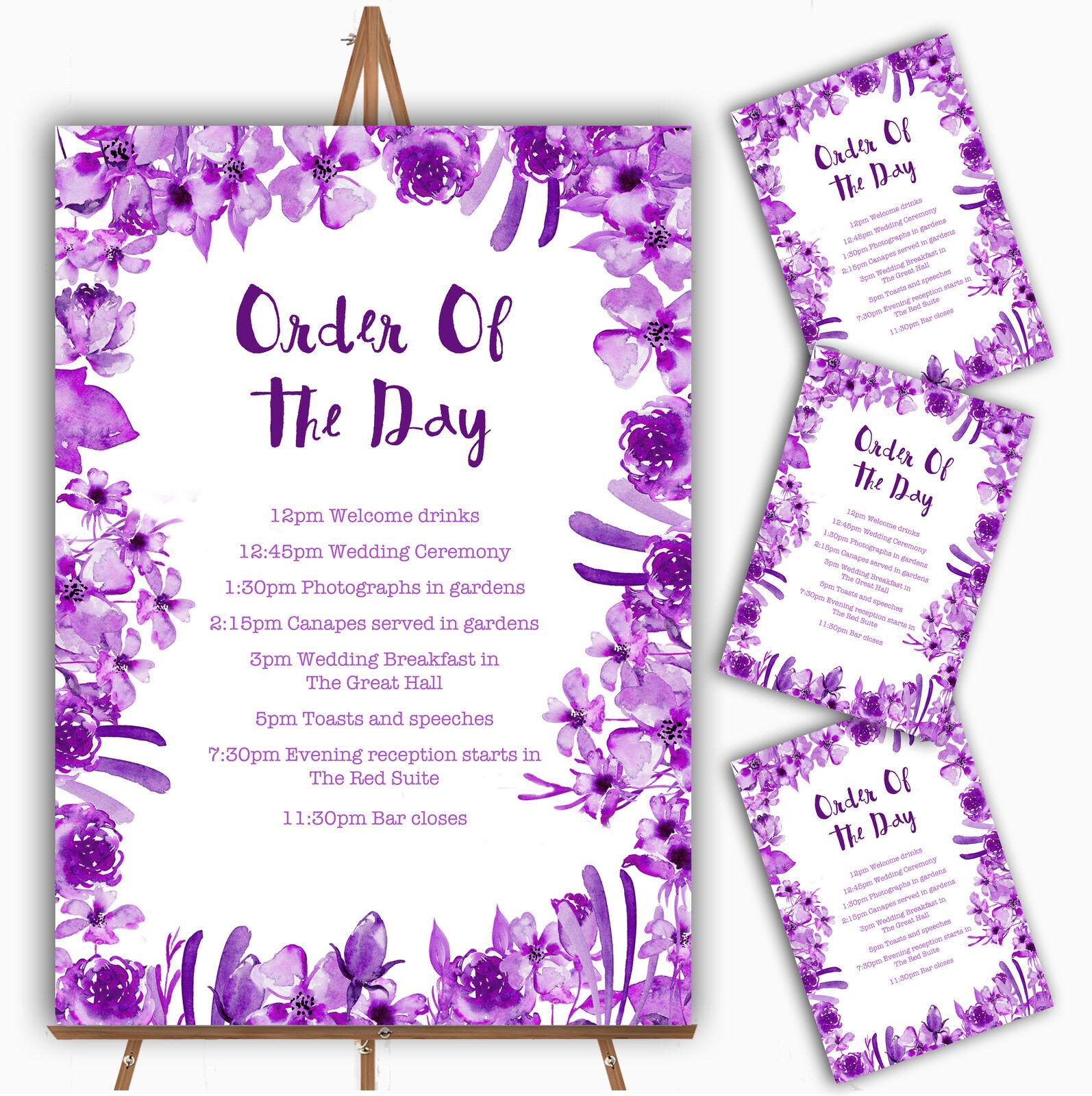 Watercolour Indigo Cadbury lila Floral Wedding Order Of The Day Cards