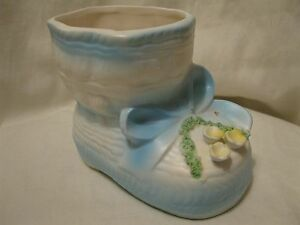 Vintage Blue Baby Shoe Ceramic Planter