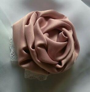 Détails sur Broche fleur tissu rose poudré romantique bohème mariage, épingle broche