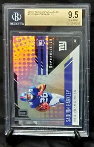 2018-Unparalleled-RC-Giants-Star-SAQUON-BARKLEY-Rookie-Card-BGS-9-5-PSA-10-GEM