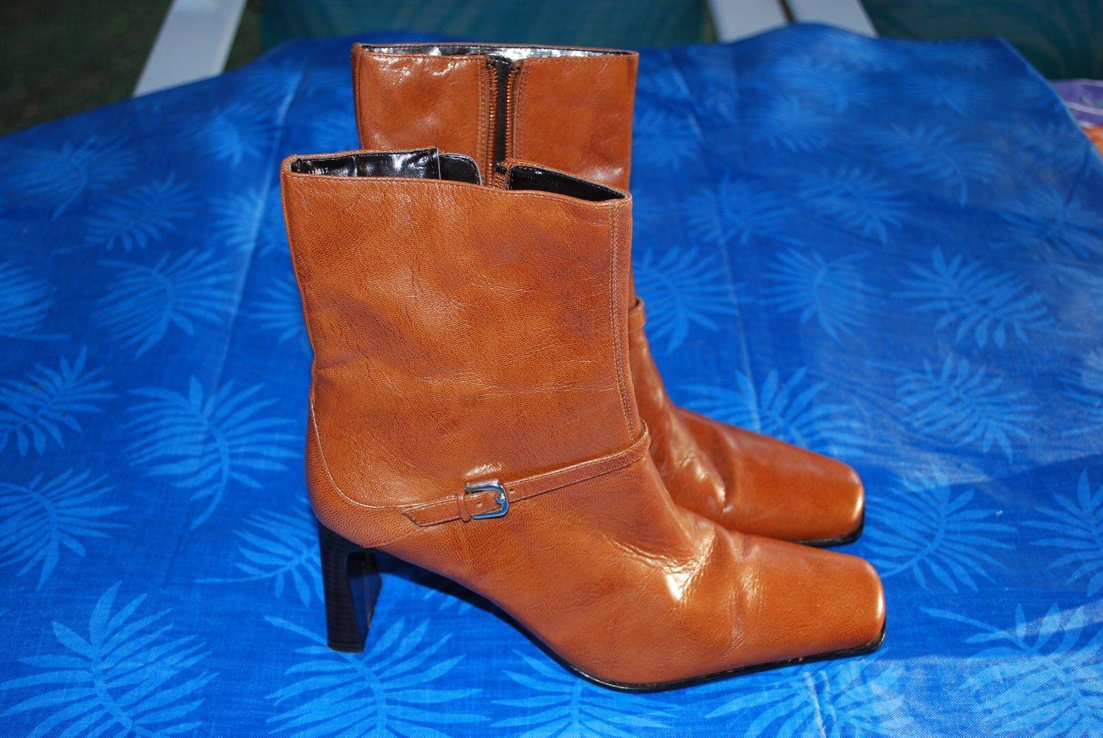 """Maripe"" Tan Leather Mid-calf Boots~Size 7 ½ B~Side Zipper~Heel Height 3 ¼~EUC"