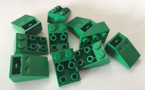 *NEW* 10 Pieces Lego GREEN Roof Tiles 3x2 Slope 33  INVERTED 3747
