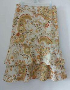 Zara-Floral-Pasley-Print-Vintage-Style-Ruffle-Hem-Midi-Skirt-size-M-fits-8-10