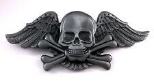 Skull Crossbones Wings Cut Out New Belt Buckle cc