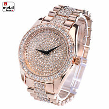 Hip Hop Iced Out Analog Stainless Steel Metal Heavy Band Watches WM 8180 RG