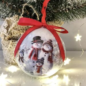 Vintage Style Christmas Ornaments.Details About Set 6 Gift Boxed Baubles Vintage Style Xmas Snowman Christmas Tree Decoration