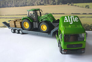 PERSONALISED-NAME-Gift-Boys-Toy-GREEN-TRANSPORTER-LORRY-amp-TRACTOR-Present-Boxed