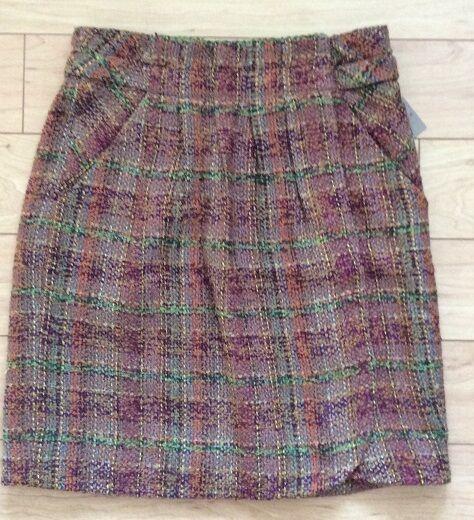 Oddile Mottled Woolen Plaid Wicopy Skirt Size 12 Brown MOT NW ANTHROPOLOGIE Tag