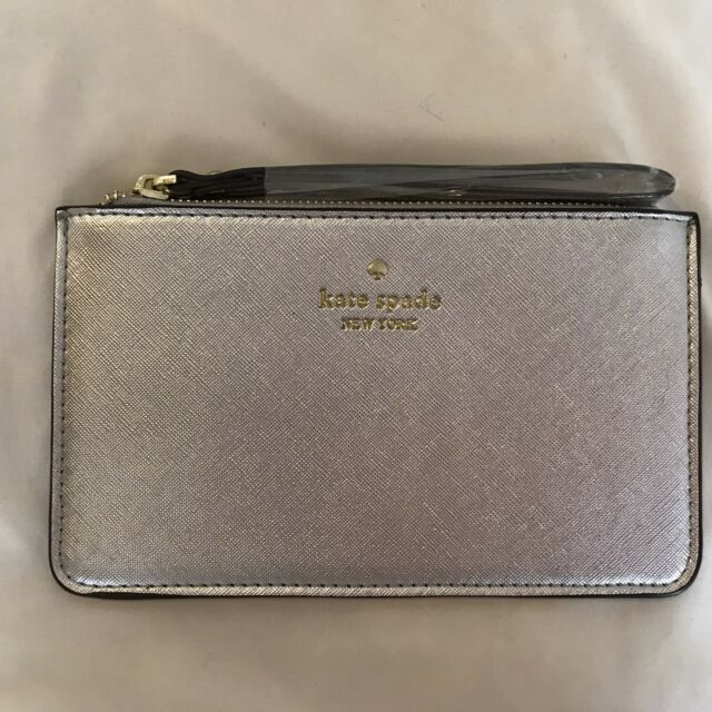 Kate Spade New York Women's Wristlet Gold Leather Top Zip with Gold Hardware