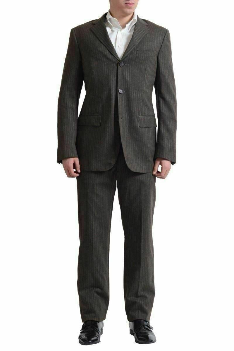 Gianfranco Ferre Wolle Gestreift Olivgrün Drei Knopf Anzug US 42 It 52
