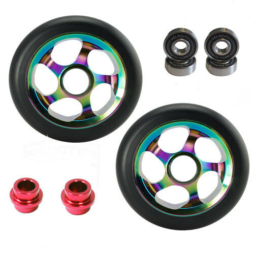 2 LATEST SIZE 120mm STUNT SCOOTER WHEELS NEOCHROME NEO CHROME ABEC 11 BEARINGS 9