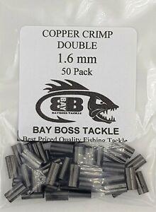 50 x 2.2mm Copper Double Fishing Crimps Suit Wire or Mono