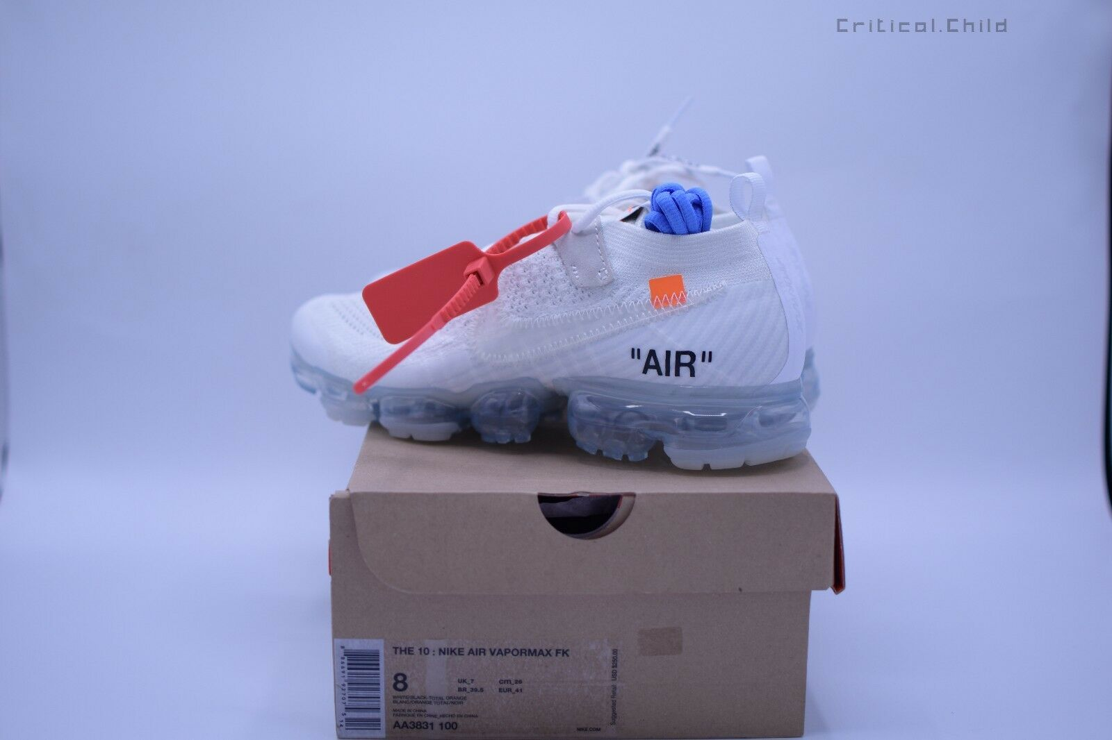 2018  Off White AA3831-100 Nike Air Vapormax x Off White Men's shoes Sz 6 us