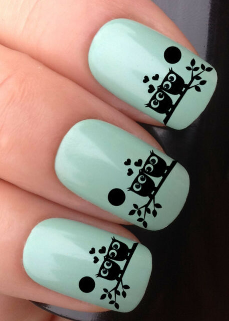NAIL ART SET #314 x24 IN LOVE OWL SAT BRANCH WATER TRANSFER DECALS STICKERS