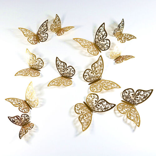 12X Christmas Large 6-12cm 3D Butterfly Glitter Tree Hanging Party Decoration
