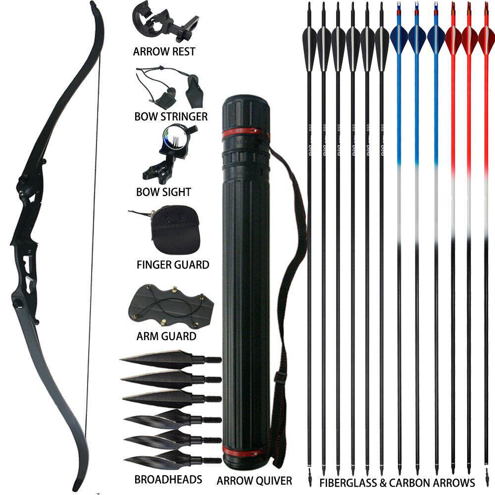 Archery Recurve Bow Sets 30 35 40 45 50lbs Cible de Chasse 56'' Débutant