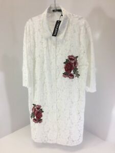 dc6aa3c30342 BOOHOO PLUS WOMEN'S ROSIE LACE EMBROIDERED SHIRT DRESS WHITE UK:20 ...