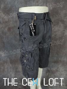 Mens-Cargo-Shorts-Belt-Charcoal-Gray-Black-Label-Size-36-38-40-42-44-46-Steintex